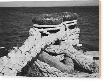 Mooring Ropes On Old Metal Harbour Bollard Scotland Wood Print by Joe Fox