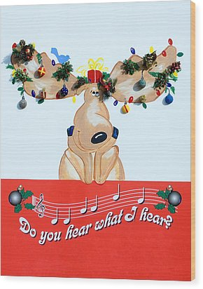 Moose Christmas Greeting Wood Print by Sally Weigand