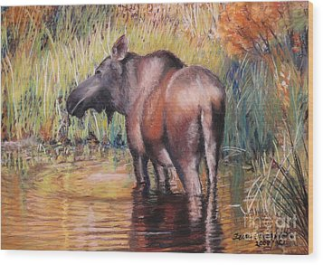 Wood Print featuring the pastel Moose In Alaska by Terri Thompson