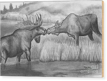 Moose Looking For Love Wood Print by Russ  Smith