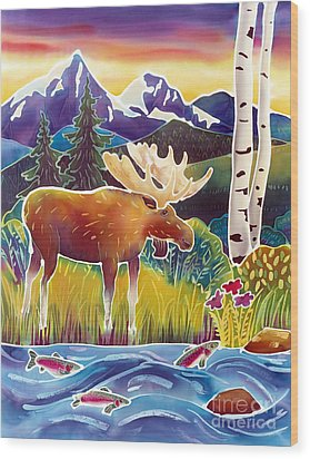 Moose On Trout Creek Wood Print by Harriet Peck Taylor