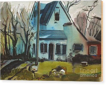 Wood Print featuring the painting Moppity's House Matted Framed Glassed by Charlie Spear