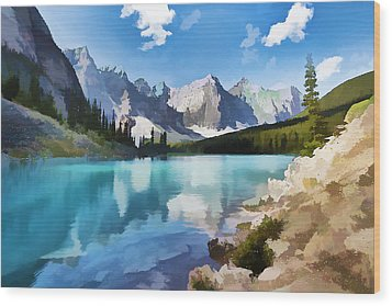 Moraine Lake At Banff National Park Wood Print by Lanjee Chee