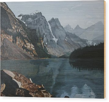 Wood Print featuring the painting Moraine Lake by Betty-Anne McDonald