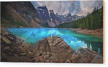 Moraine Lake Wood Print by John Poon