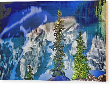 Moraine Reflections Wood Print by Dennis Cox WorldViews