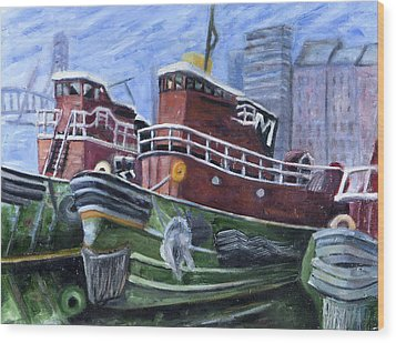 Moran Tugboats. Portsmouth New Hampshire Wood Print by Maurice Pelissier