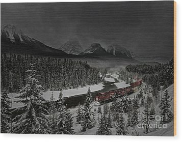 Morant's Curve - Winter Night Wood Print by Brad Allen Fine Art