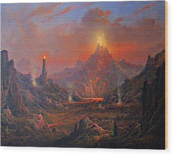 Mordor Land Of Shadow Wood Print by Joe Gilronan