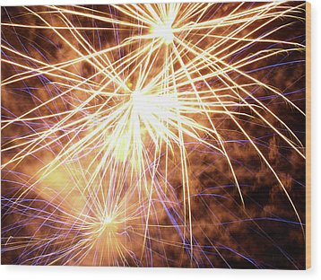 More Fireworks - 2 Wood Print by Jeffrey Peterson