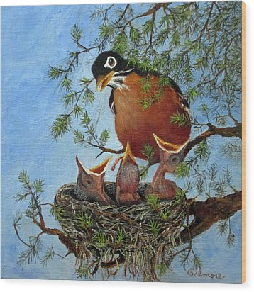 Wood Print featuring the painting More Food by Roseann Gilmore