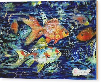More Gold Fish Wood Print by Norma Boeckler