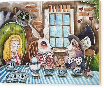 More Tea Wood Print by Lucia Stewart