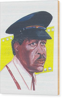 Wood Print featuring the painting Morgan Freeman by Emmanuel Baliyanga