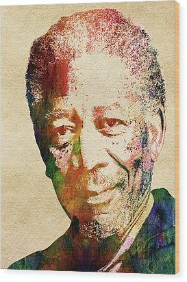 Morgan Freeman Wood Print by Mihaela Pater