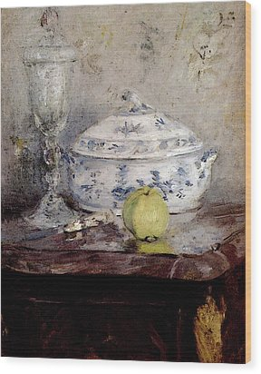 Morisot Berthe Tureen And Apple Wood Print by Berthe Morisot