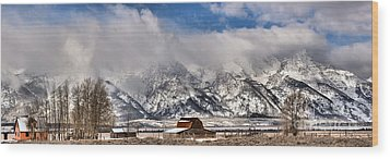 Wood Print featuring the photograph Mormon Row Early Winter Panorama by Adam Jewell