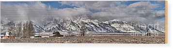 Wood Print featuring the photograph Mormon Row Extended Panorama by Adam Jewell