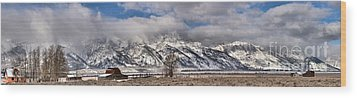 Wood Print featuring the photograph Mormon Row Snowy Extended Panorama by Adam Jewell