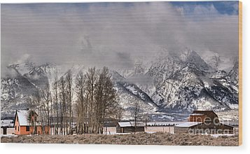 Wood Print featuring the photograph Mormon Row Winter Morning Panorama by Adam Jewell