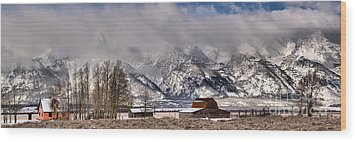 Wood Print featuring the photograph Mormon Row Winter Panorama by Adam Jewell