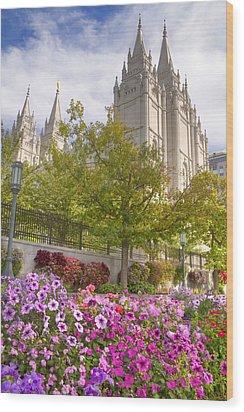 Mormon Temple Salt Lake City Wood Print by Utah Images