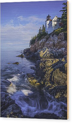 Morning At Bass Harbor Lighthouse Wood Print