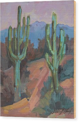 Wood Print featuring the painting Morning At Fort Apache by Diane McClary