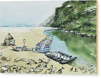 Wood Print featuring the painting Morning At Porto Novo Beach by Dora Hathazi Mendes
