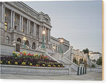 Morning At The Library Of Congress Wood Print by Greg Mimbs