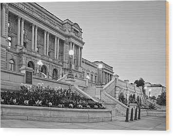 Wood Print featuring the photograph Morning At The Library Of Congress In Black And White by Greg Mimbs