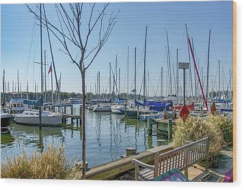 Wood Print featuring the photograph Morning At The Marina by Charles Kraus
