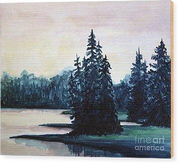 Morning At Yellowstone Lake Wood Print