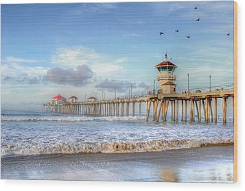Morning Birds Over Pier Wood Print