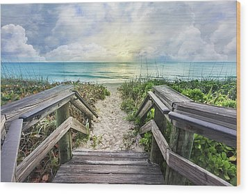 Wood Print featuring the photograph Morning Blues At The Dune by Debra and Dave Vanderlaan