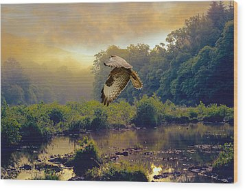 Wood Print featuring the photograph Morning Buzzard by Roy  McPeak