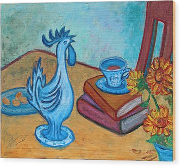 Wood Print featuring the painting Morning Coffee Rooster by Xueling Zou