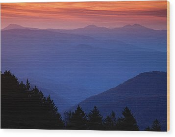 Morning Colors In The Smokies Wood Print by Andrew Soundarajan
