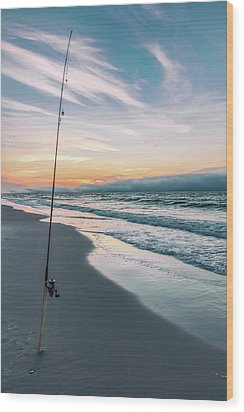 Wood Print featuring the photograph Morning Fishing At The Beach  by John McGraw