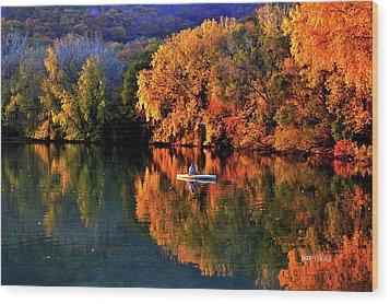 Morning Fishing On Lake Winona Wood Print