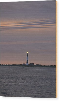 Morning Flash Of Fire Island Light Wood Print by Christopher Kirby
