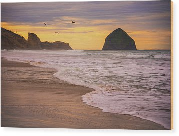 Wood Print featuring the photograph Morning Flight Over Cape Kiwanda by Darren White