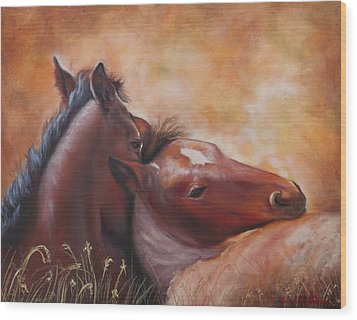 Morning Foals Wood Print by Karen Kennedy Chatham