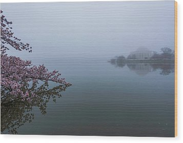 Morning Fog At The Tidal Basin Wood Print by Michael Donahue