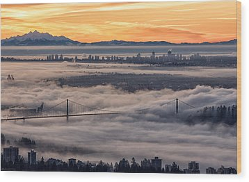 Morning Fog Wood Print by DGS Full Spectrum Photography