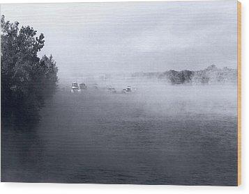Wood Print featuring the photograph Morning Fog - Hudson River by John Schneider