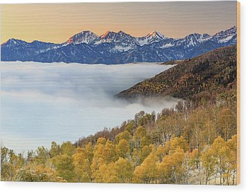 Wood Print featuring the photograph Morning Fog In The Southern Wasatch. by Johnny Adolphson