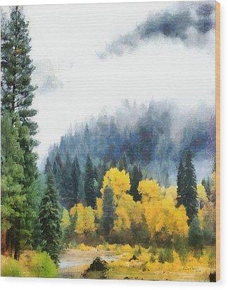 Morning Fog Montana Wood Print by Russ Harris
