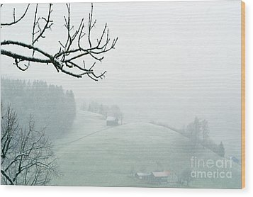 Wood Print featuring the photograph Morning Fog - Winter In Switzerland by Susanne Van Hulst