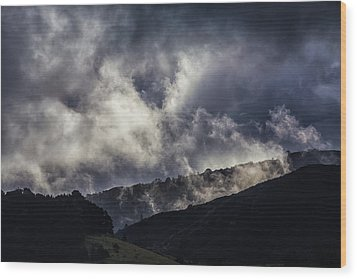 Morning Fog,mist And Cloud On The Moutain By The Sea In Californ Wood Print